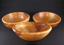 10 inch Spalted Birch Bowls turned by Dennis Curtis.